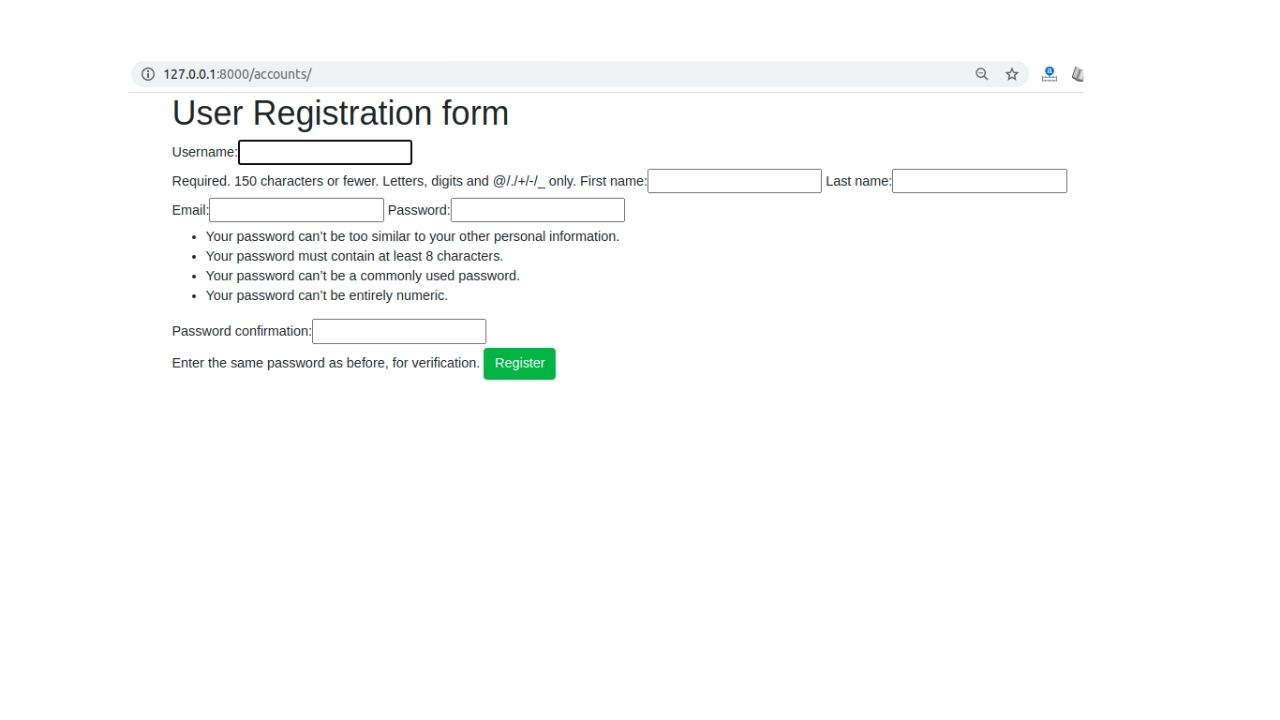 sign up page without styling