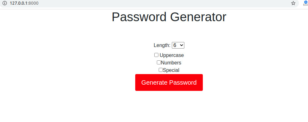 password generator form